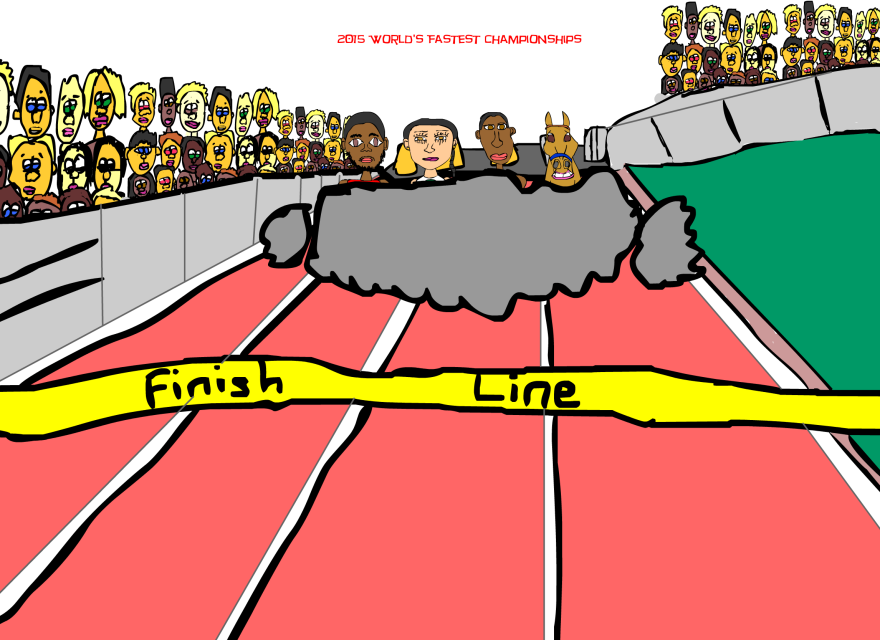 2015 World Fastest Championships created by Cartoonist Jamaal R. James for James Creative Arts And Entertainment Company. 2015 world track and field championships