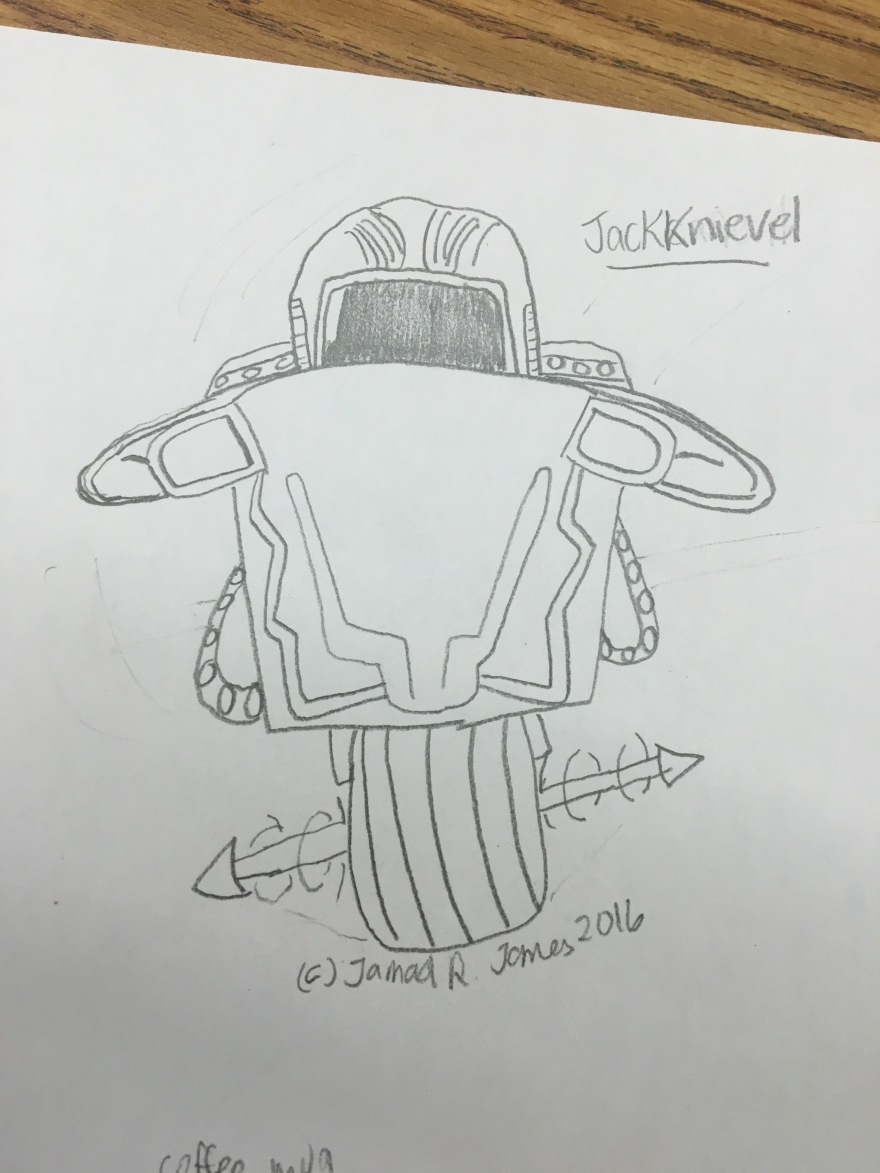 JackKnievel a character design concept art created by Cartoonist Jamaal R. James for James Creative Arts And Entertainment Company for a comic book or feature film.