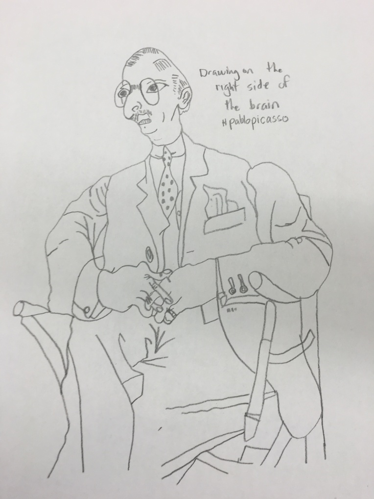 Igor Stravinsk Portrait by Pablo Picasso, updrawn upside down by Cartoonist/iIlustrator Jamaal R. James for James Creative Arts And Entertainment Company. From the book drwing on the right side of the brain.