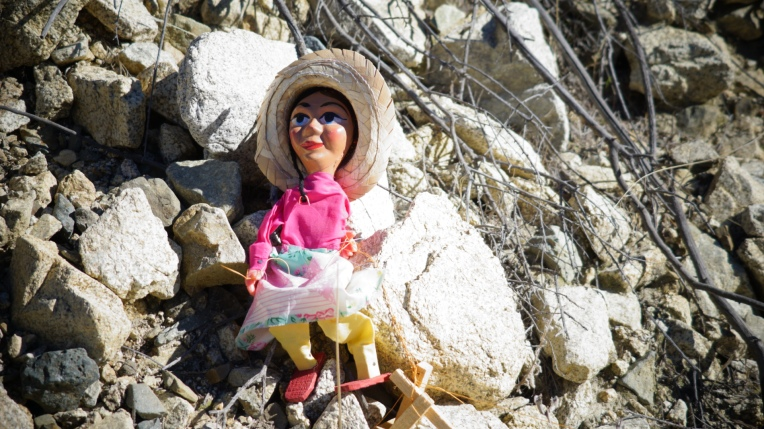 Valerie waited in the shadows and then decided to climb the rocks and continue on her journey to the snow capped mountains. Created by Visionary Film Director Jamaal R. James. Puppet show.