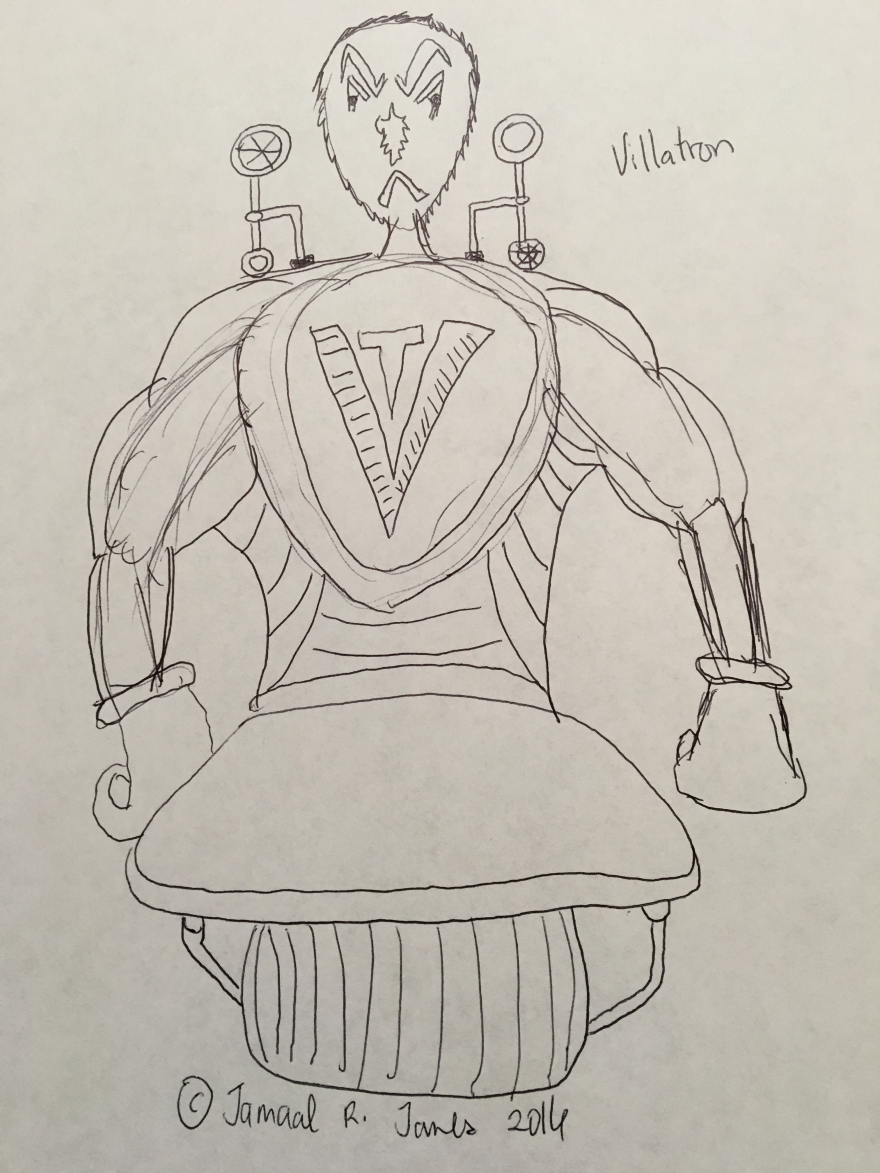 Villain Villatron for the Children's picture book comic Scrasses Family created by Cartoonist/Illustrator Jamaal R. James for James Creative Arts And Entertainment Company.