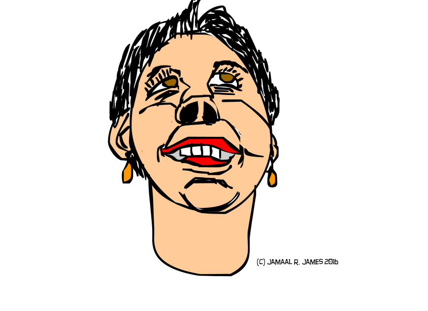 Woman's face underneath reference created by Cartoonist Jamaal R. James for James Creative Arts and Entertainment Company. illustrator. illustration.