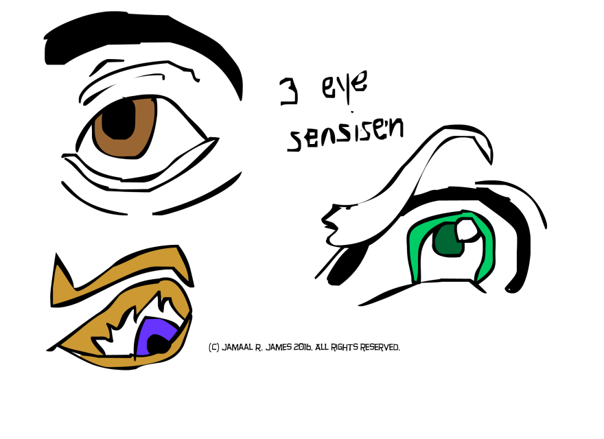 3 eye character design drawn by Cartoonist Jamaal R. James for James Creative Arts And Entertainment Company. eyeball illustrator