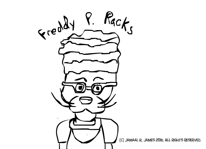 Freddy P. Racks is a character that walks around with racks on his head and wonders why everyone wants to be his friend. Created by Cartoonist Jamaal R. James for James Creative Arts And Entertainment Company. illustration.