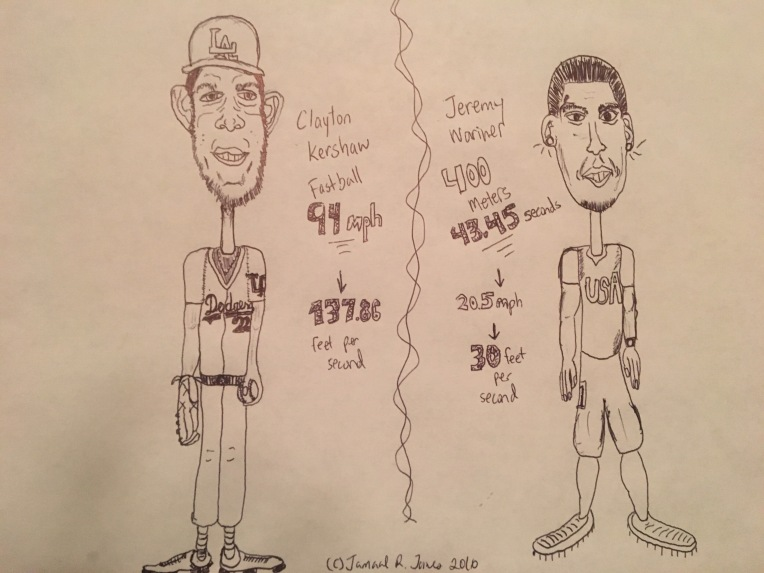 What if man could out run a fastball? Clayton Kershaw L Dodgers Vs Jeremy Wariner 400 meter star. Created by illustrator Cartoonist Jamaal R. James for James Creative Arts And Entertainment Company.