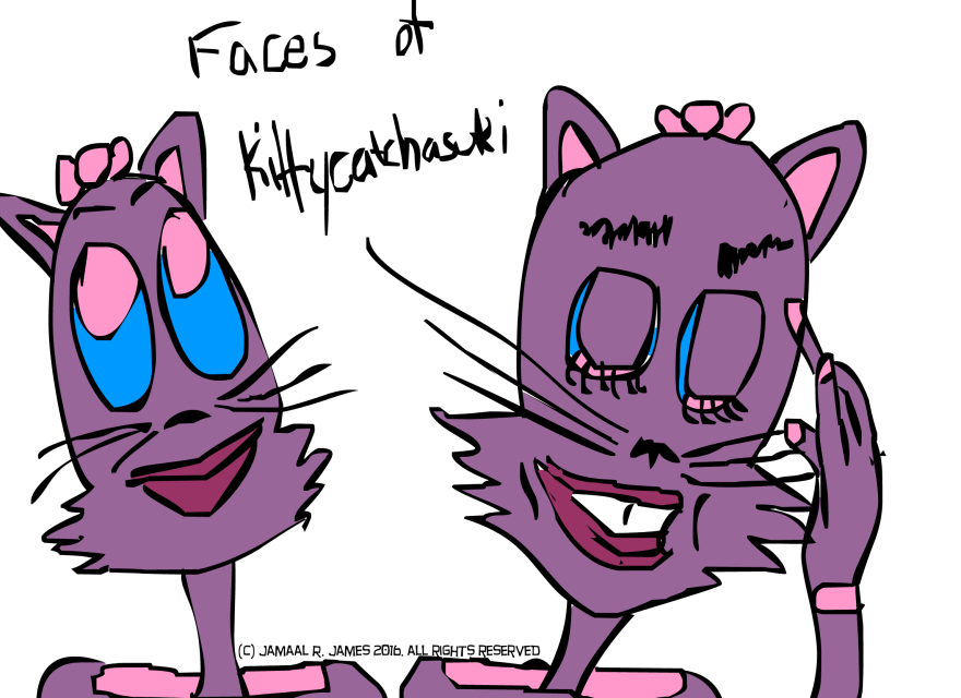 Faces of Kittycatchasuki created by Cartoonist/illustrator Jamaal R. James for James Creative Arts And Entertainment Company. illustrator