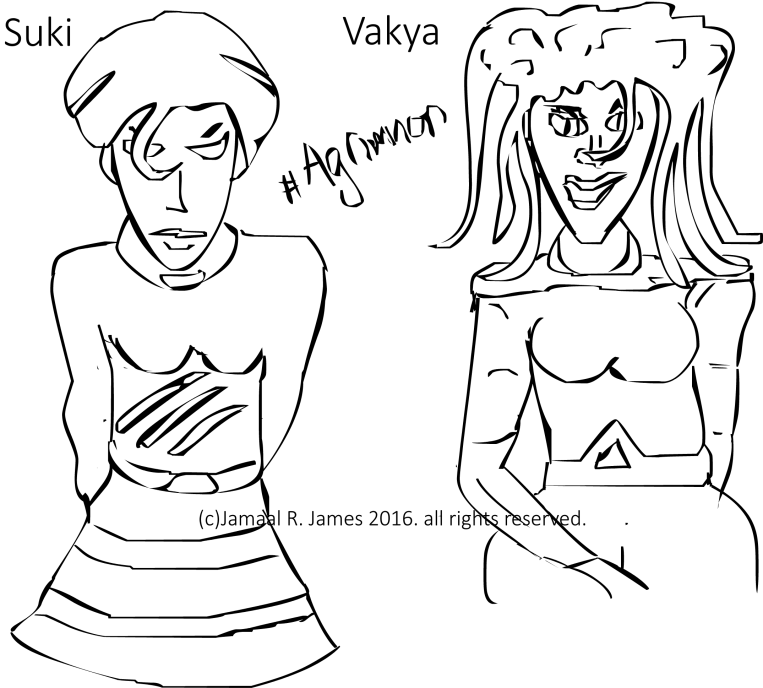 "Agrimnon ""Suki"" and ""Vayka"" seductresses sisters, by Visionary Science Fiction Film Director Jamaal R. James for James Creative Arts And Entertainment company."