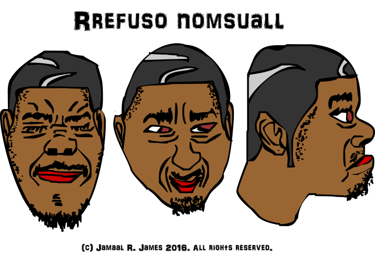 3 Thinking Heads of Rrefuso Nomsuall by illustrator Jamaal R. James for James Creative Arts And Entertainment Company.