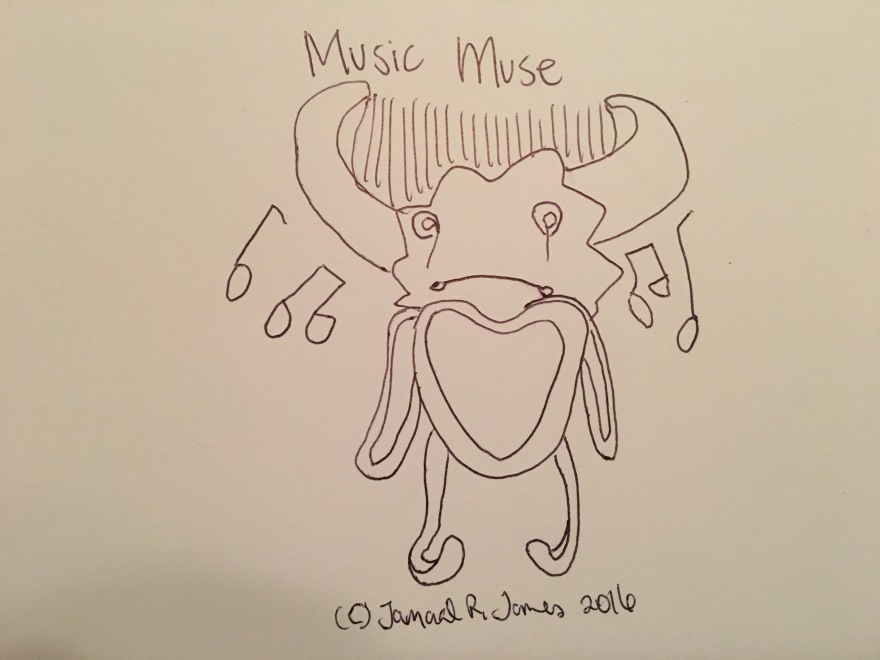 Music Muse by Cartoonist/illustrator Jamaal R. James for James Creative Arts And Emtertainment Company. illustrator.