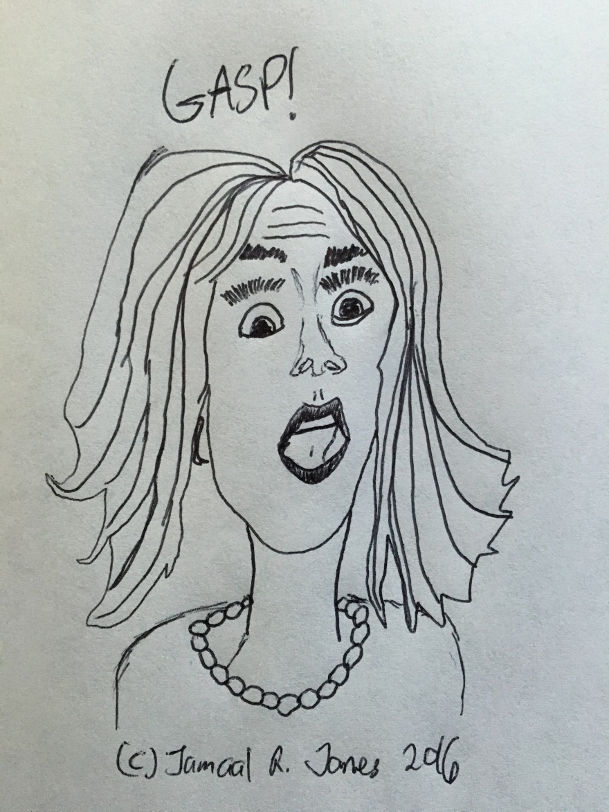 Gasp Face Caricature by Cartoonist Jamaal R. James for James Creative Arts And Entertainment Company. illustrator.