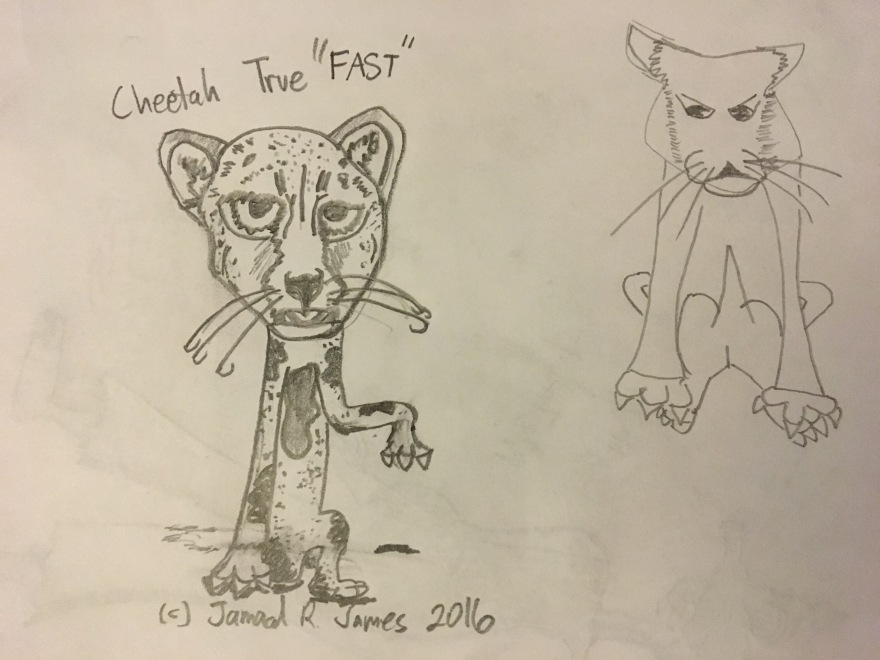 "Cheetah Fast ""One"" Cartoon by Cartoonist Jamaal R. James for James Creative Arts And Entertainment Company. illustrator."