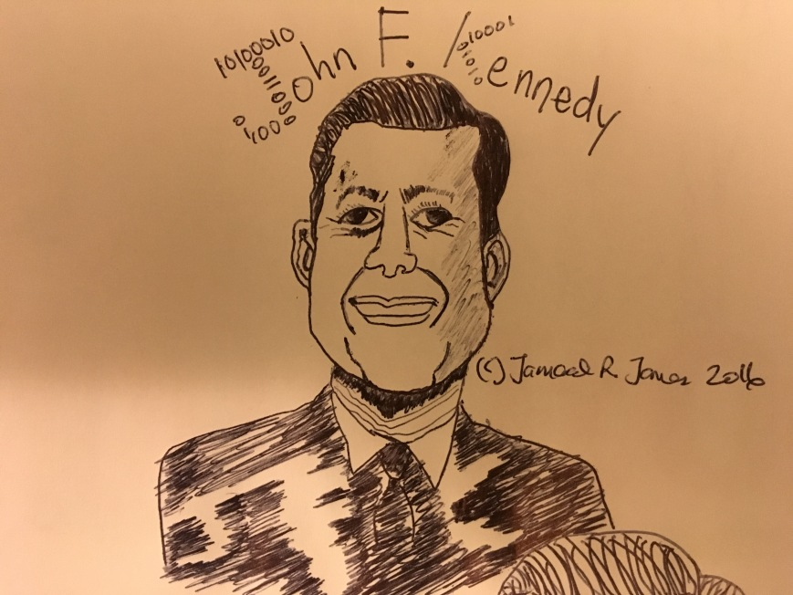 JFK Cartoon, John F. Kennedy Caricature by Cartoonist Jamaal R. James for James Creative Arts And Entertainment Company. Agrimnon.