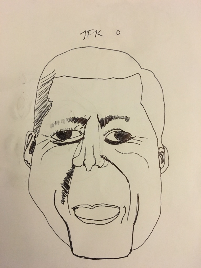 JFK Cartoon Drawing Failure #2 by Cartoonist Jamaal R. James for James Creative arts and entertainment company.