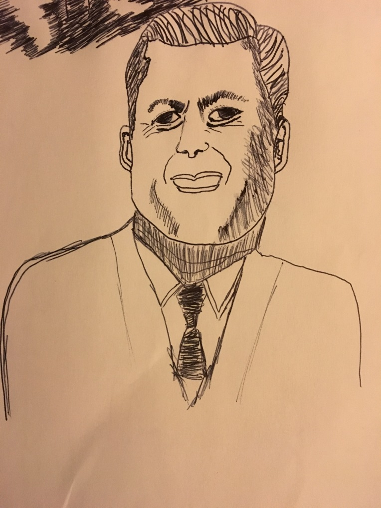 JFK Cartoon Drawing Failure #3 by Cartoonist Jamaal R. James for James Creative arts and entertainment company.