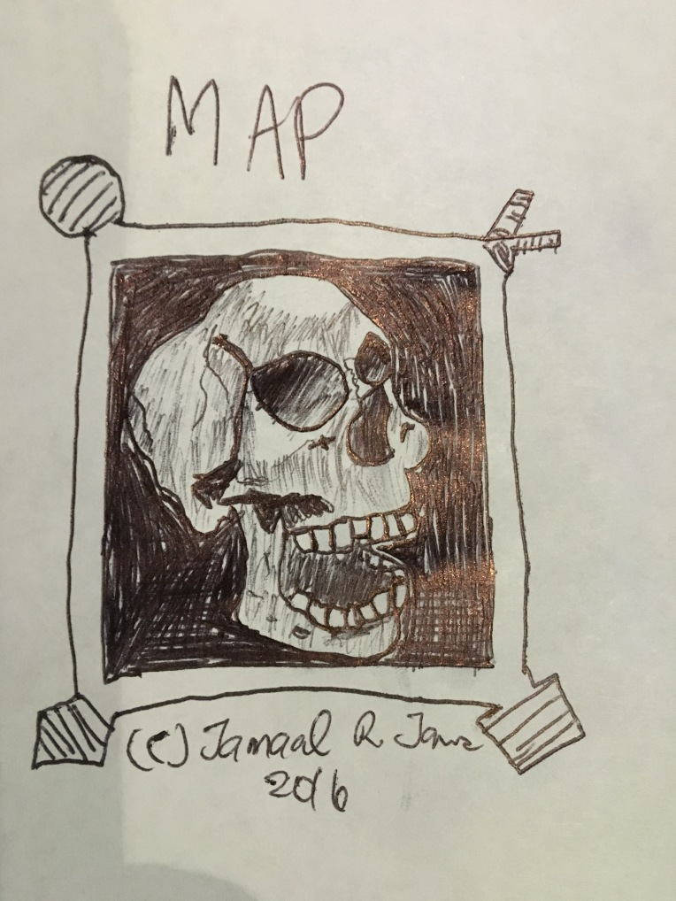 Pirate Skeleton Map by Cartoonist Jamaal R. James for James Creative Arts And Entertainment Company. film, cinema, imagination.