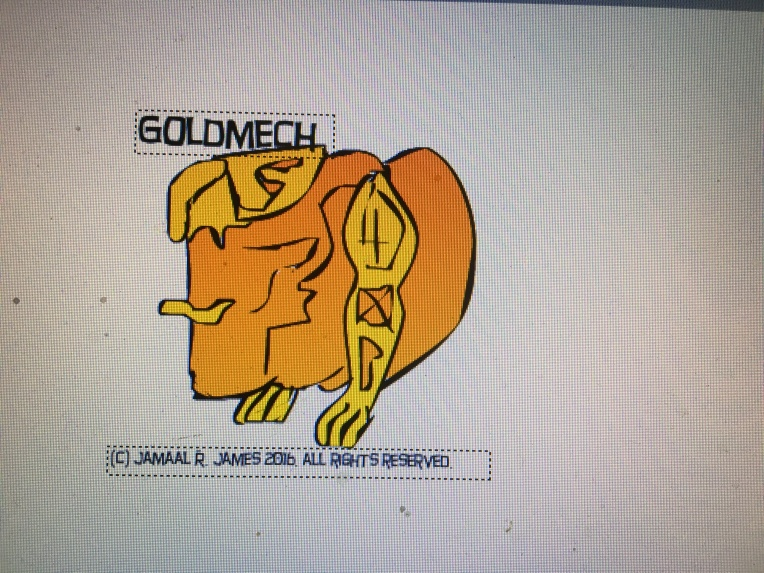 Character Design Goldmech by illustrator Jamaal R. James for James Creative Arts And Entertainment company.