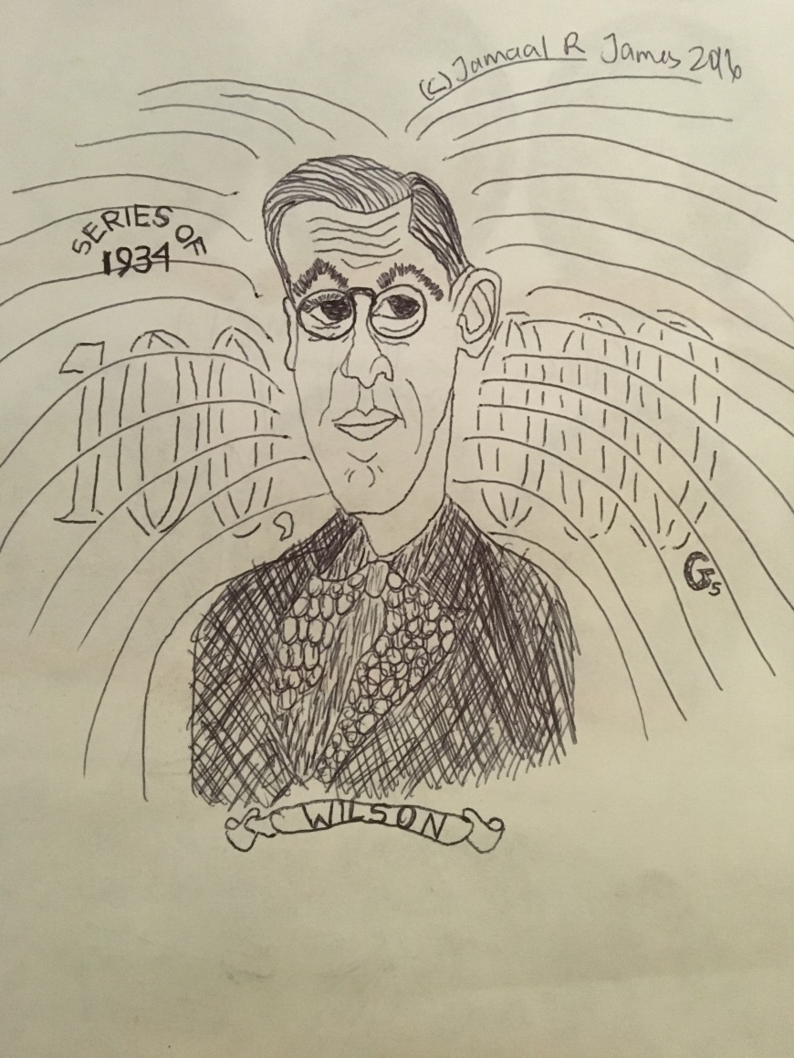 Woodrow Wilson Caricature Drawing by Cartoonist Jamaal R. James for James Creative Arts And Entertianment Company. illustrator