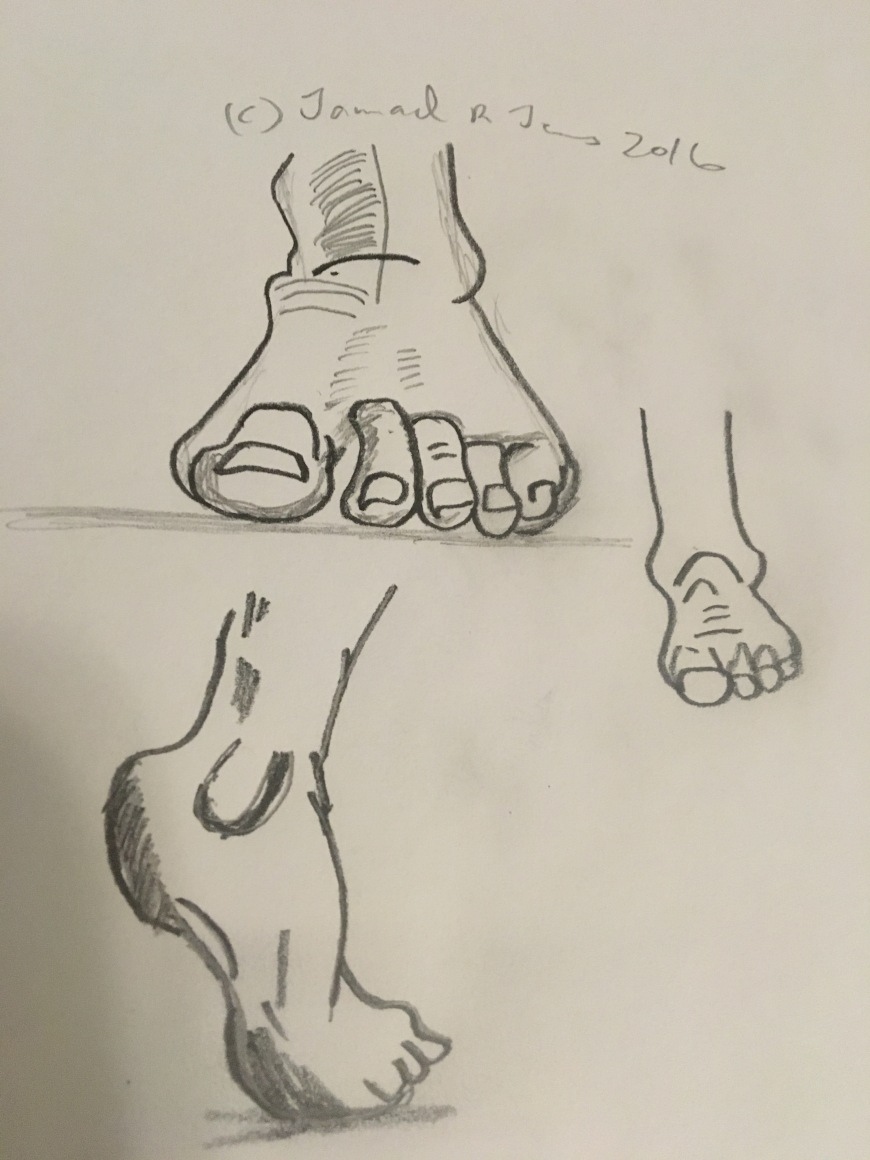 Foot pose drawing by Cartoonist/illustrator Jamaal R. James for James Creative Arts And Entertianment Company. feet drawing