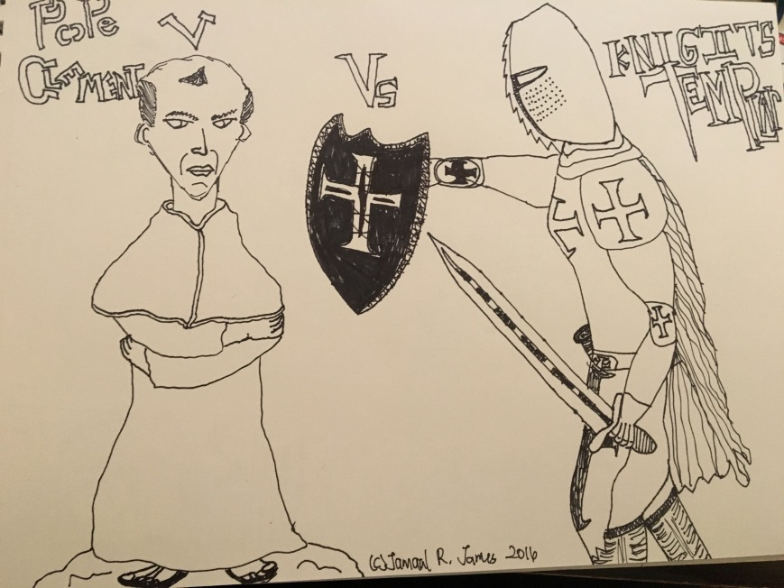 Knights Templar Versus Pope Clement V drawing by illustrator Jamaal R. James for James Creative Arts and Entertainment Company Puppet Show Revenge of the Templar. Storytelling puppet company