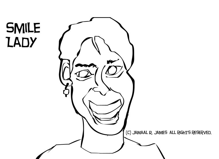Smile Lady Caricature Drawing by Cartoonist/illustrator Jamaal R. James for James Creative Arts And Entertainment Company.