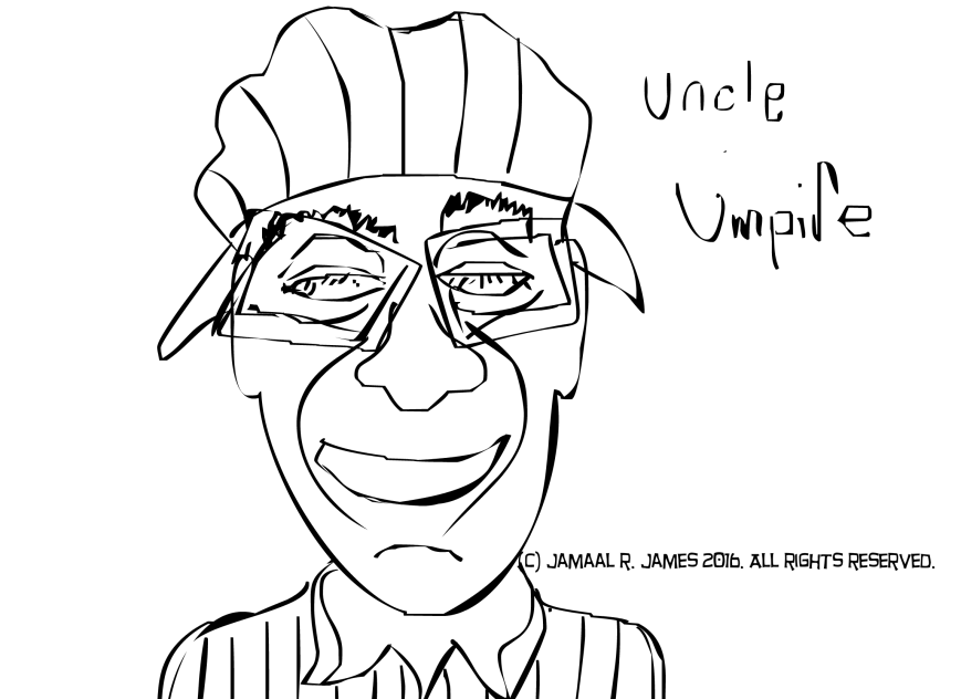 Uncle Umpire drawing by Cartoonist Jamaal R. James for James Creative Arts And Entertainment Company. illustrator
