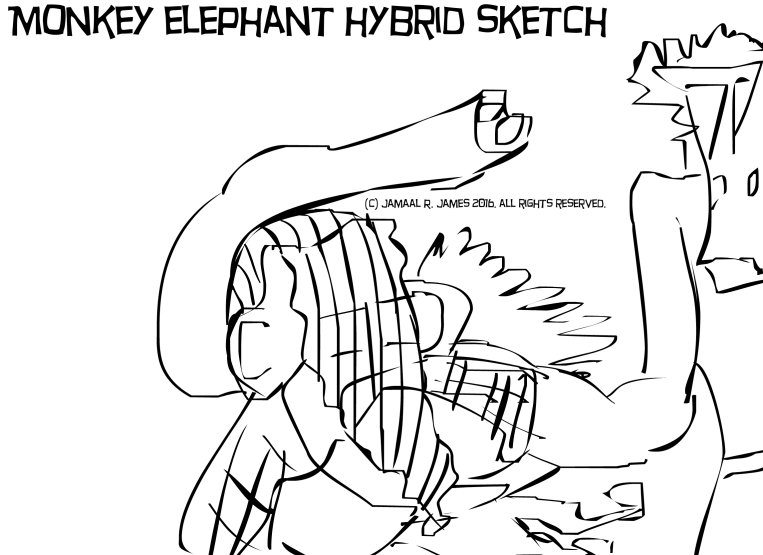 Monkey Elephant Hybrid Sketch by Cartoonist/illustrator Jamaal R. James for James Creative Arts And Entertainment Company. Science Fiction cinema