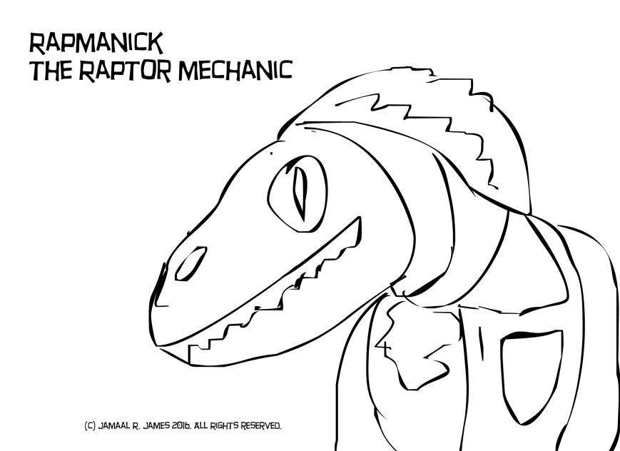 Rapmanick The Raptor Mechanic illustrator by Cartoonist/illustrator Jamaal R. James for James Creative Arts And Entertainment Company. mechanic stop motion