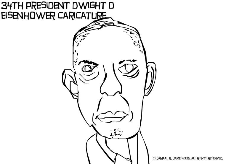 Dwight D. Eisenhower Caricature Drawing by Cartoonist Jamaal R. James for James Creative arts And Entertainment Company. illustrator