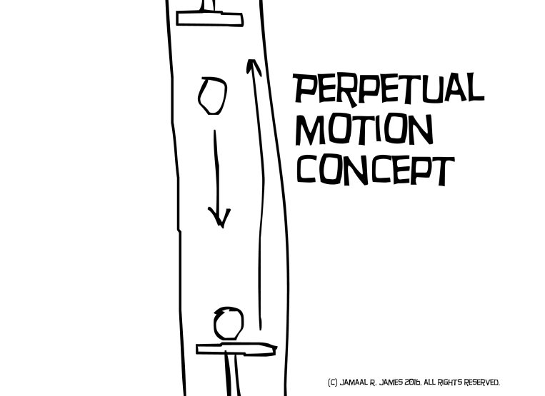 Perpetual Motion Concept art by Cartoonist Jamaal R. James for James Creative Arts And Entertainment Company. illustrator