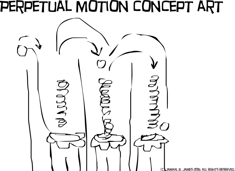 Perpetual Motion Concept Art by Cartoonist Jamaal R. James for James Creative Arts And Entertainment Company.