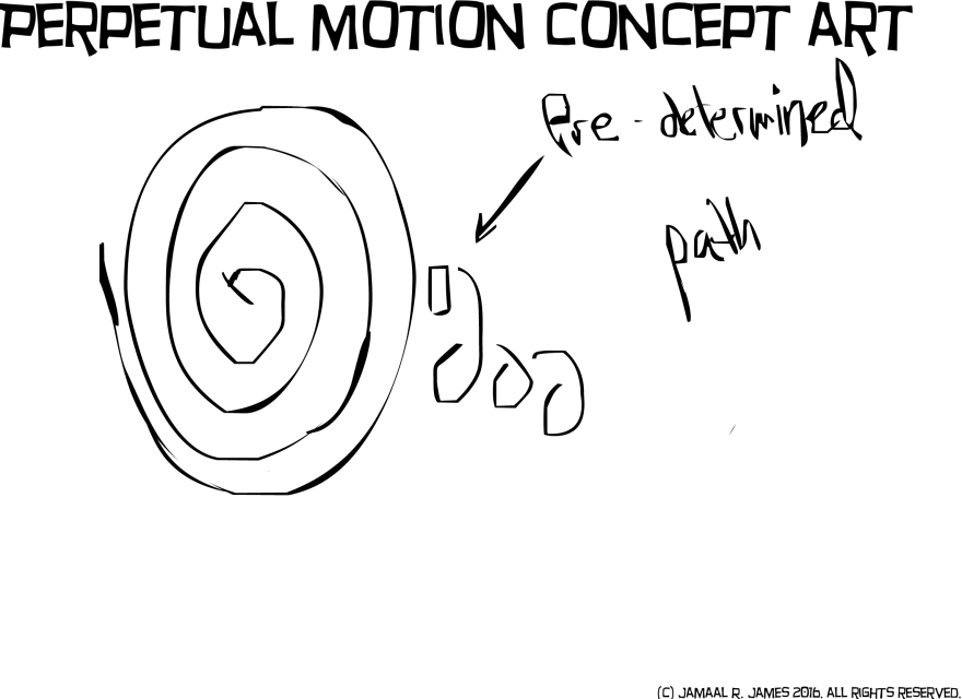 Perpetual Motion Concept art by Jamaal R. James for James Creative Arts And Entertainment Company. drawing.