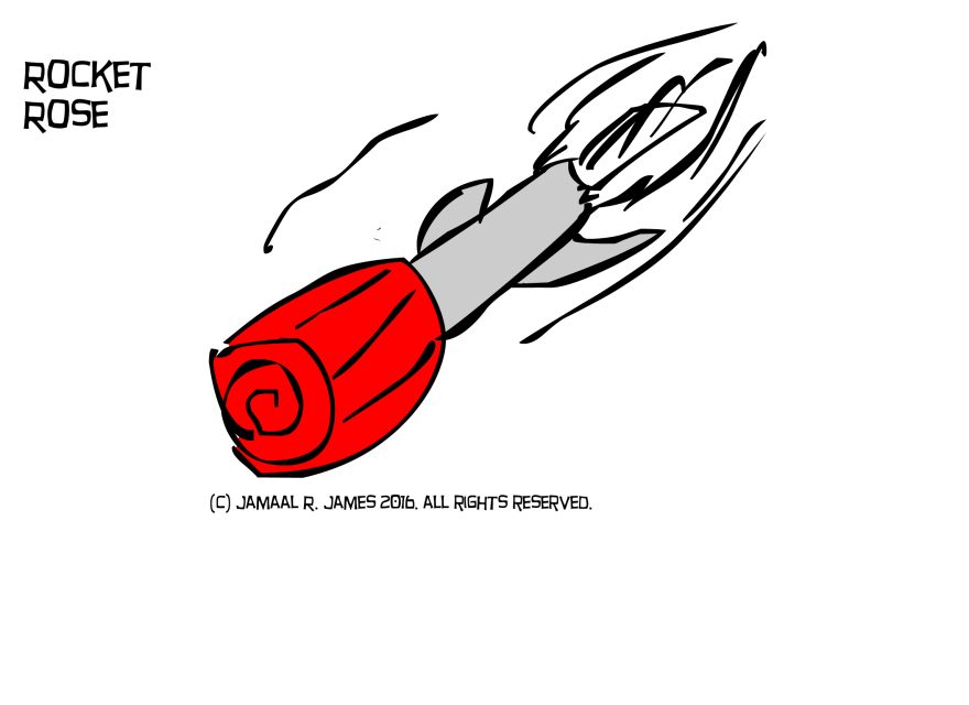Rocket Rose Concept Art by illustrator Jamaal R. James for James Creative Arts And Entertainment Company. rocket art