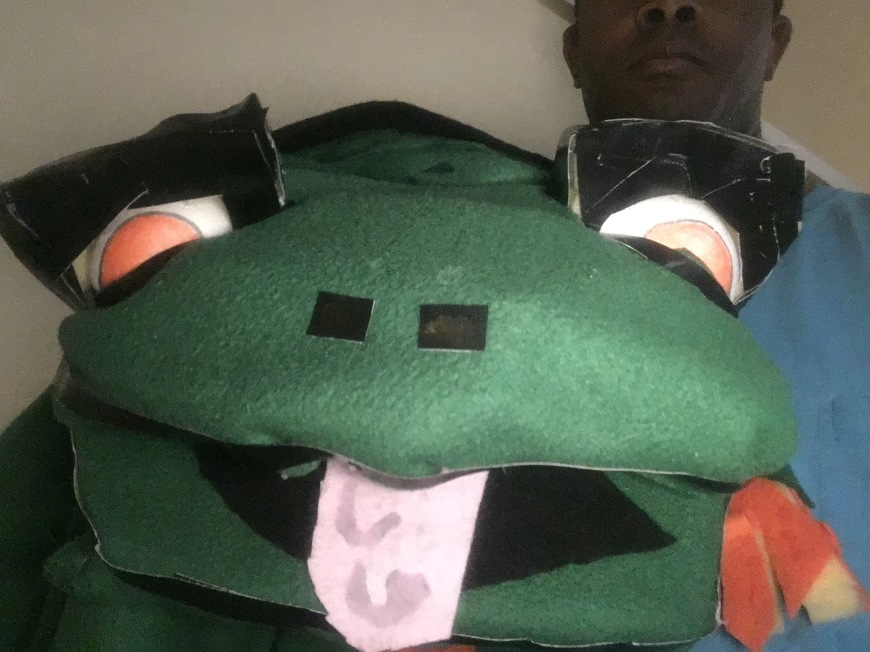 Fat Frog Puppet by Creative Director Jamaal R. James for James Creative Arts And Entertainment Company. JCAAEC puppet shows