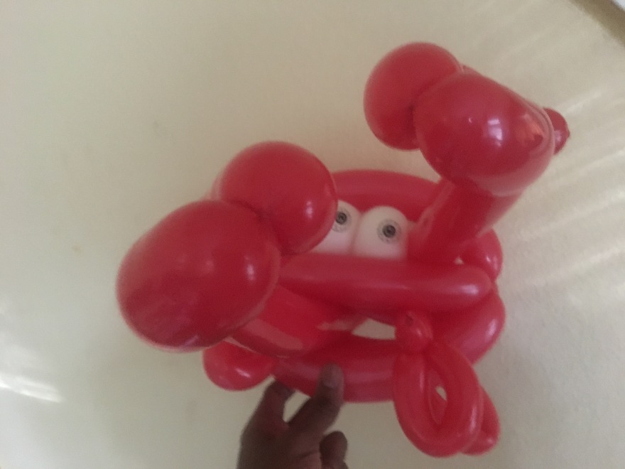 Balloon Crab Puppet Art by Creative Director Jamaal R. James for James Creative Arts And Entertainment Company.