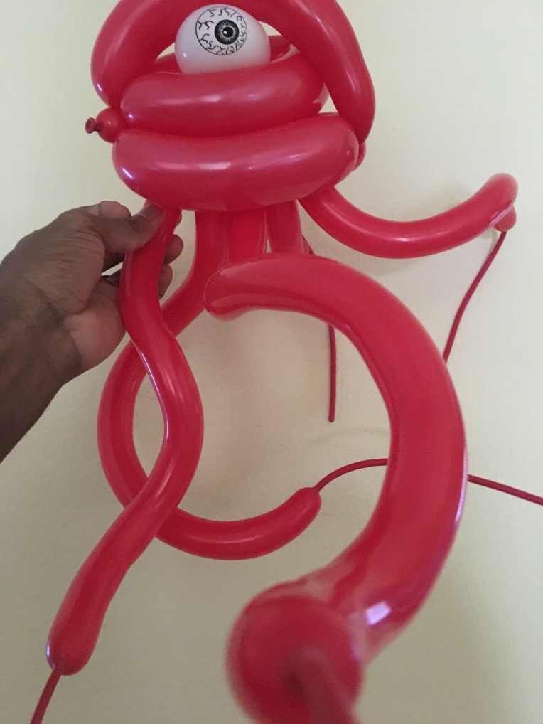 Mr. Swiggels balloon art creation by Creative Director Jamaal R. James for James Creative Arts And Entertainment Company. balloon design