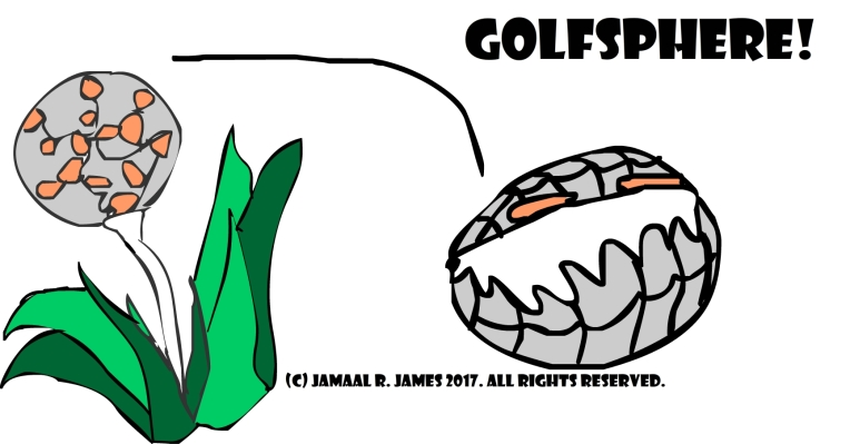 Golfsphere is a golfball art created by Cartoonist Jamaal R. James for James Creative Arts And Entertainment Company. jcaaec
