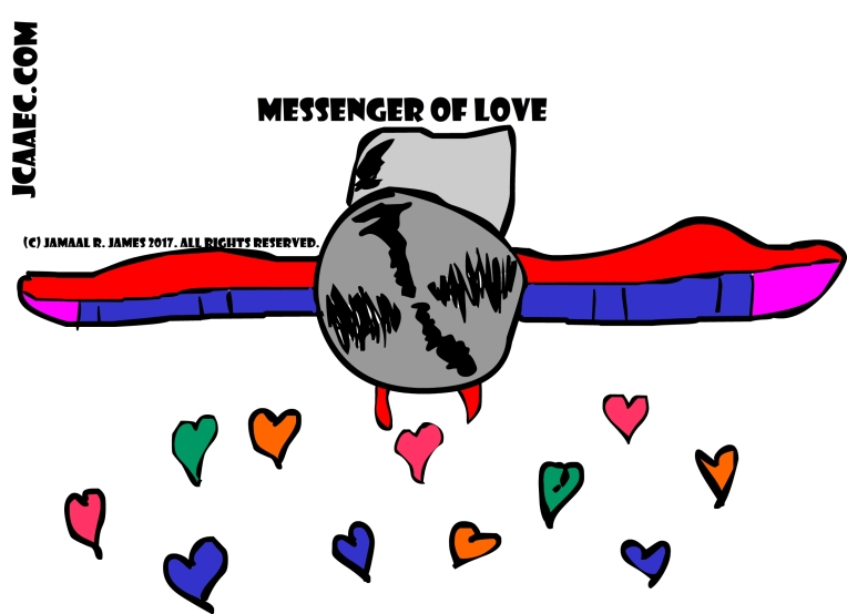 Messenger of Love concept airplane art by Cartoonist Jamaal R. James for James Creative Arts And Entertainment Company. jcaaec yayyy! love