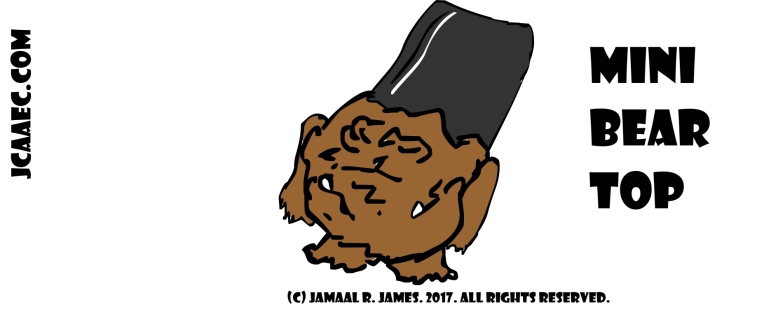 Mini bear has two mouths and a flat top created by Cartoonist Jamaal R. james for James Creative Arts And Entertainment Company. jcaaec