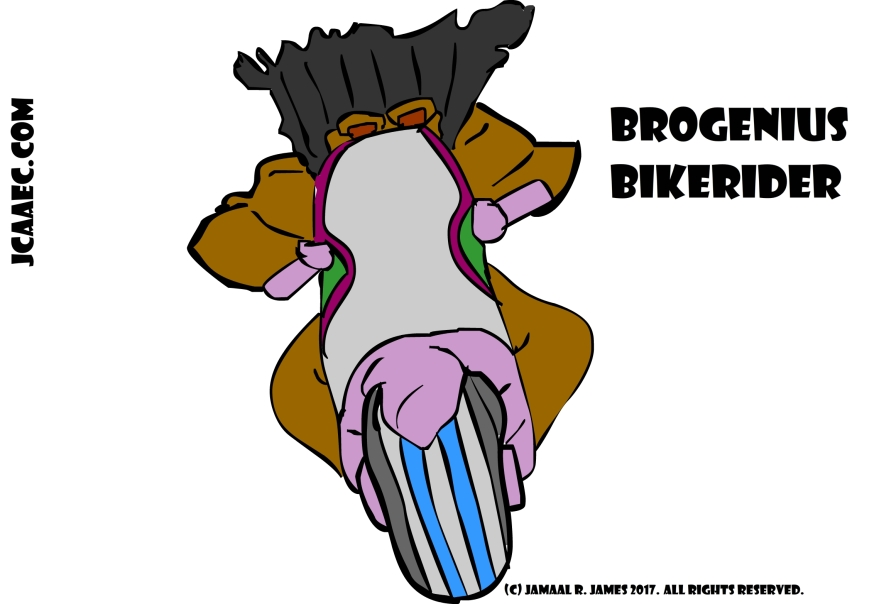 BroGenius Bikerider Concept art created by Cartoonist Jamaal R. James for James Creative Arts And Entertainment Company. jcaaec