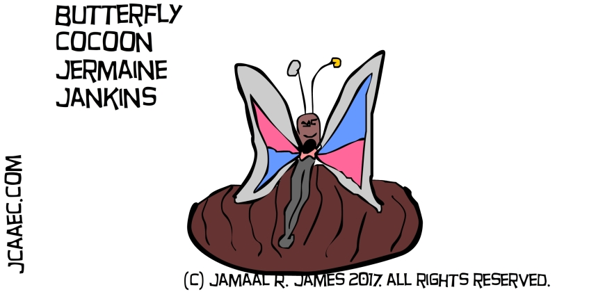 Butterfly Cocoon trap created by Cartoonist Jamaal R. James for James Creative arts And Entertainment Company. jcaaec