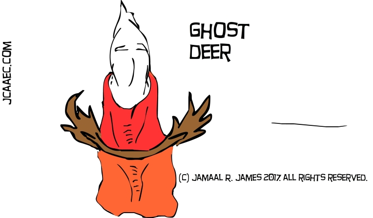 Deer Ghost caricature by Cartoonist Jamaal R. James for James Creative Arts And entertainment Company. jcaaec