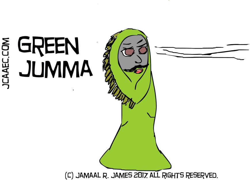 Green Jumma concept art created by Cartoonist Jamaal R. James for James Creative arts And Entertainment Company. jcaaec