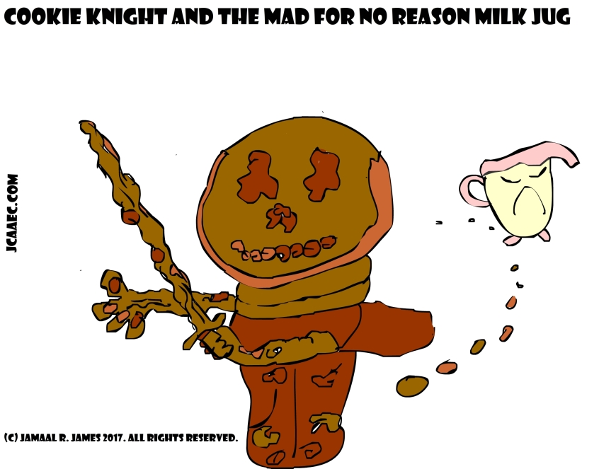 Cookie Knight and the Mad for no reason Milk jug created by Cartoonist Jamaal R. James for JCAAEC