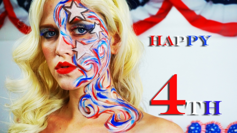 A gorgeous model posing for the 4th of July picture.