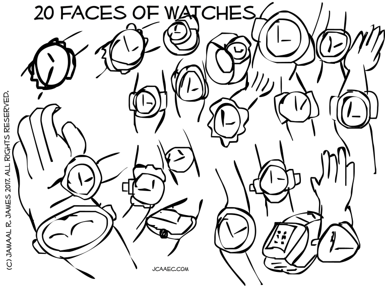 20 Faces time waits for no man by illustrator Jamaal R. James for JCAAEC