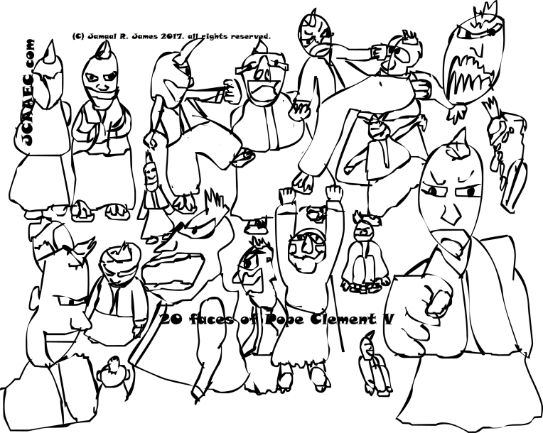 Cartoonist Jamaal R. James drawed this wonderful collage of Pope Clement v.