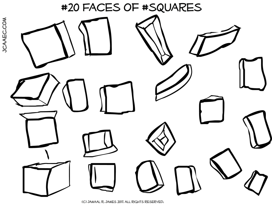 Square box drawings by illustrator Jamaal R. James