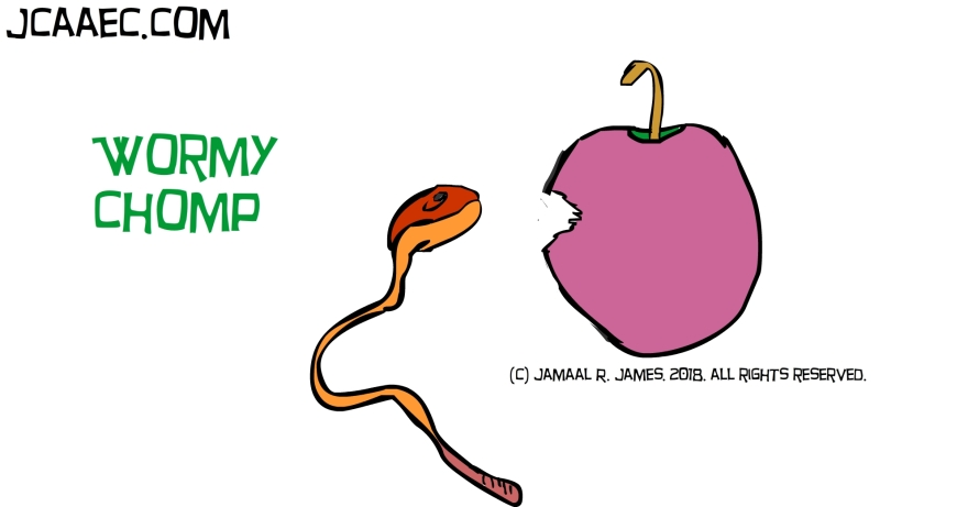 illustrator wormy chomp eating a apple-jcaaec