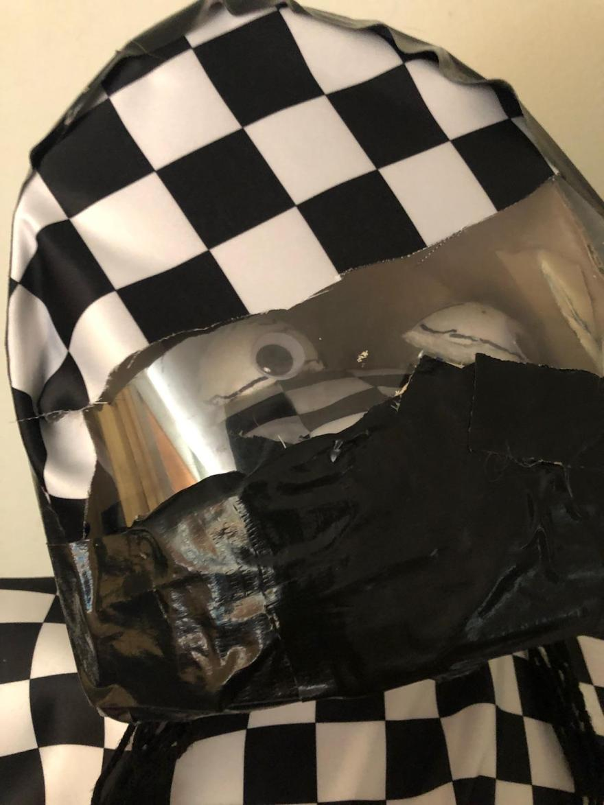 Ronnie The Racer is hiding in his helmet by puppeteer Creative director Jamaal R. James-james creative arts and entertainment company.